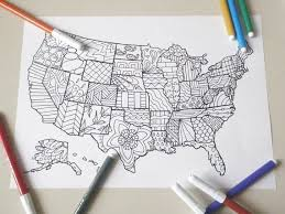 us map decor united states america map kids coloring book page instant