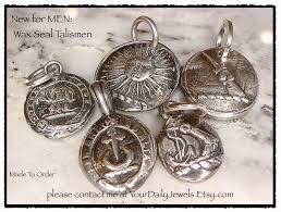 antique wax seal pendants to suit men of every style even men who have never worn jewelry love my rustic historic heraldic pendants
