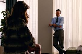 """mad men s matthew weiner on betty s surprise fate and don s post """"i always like to keep him more in the cool tones the sophisticated colors of grays and blues and blacks """" she explained"""