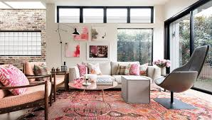 brick living room furniture. Classy Pink Living Room With Refined Decor And White Brick Wall Background Accent Large Glass Door Window Black Frame Round Wood Coffee Furniture
