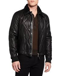 tom fordmen s quilted leather jacket w shearling collar