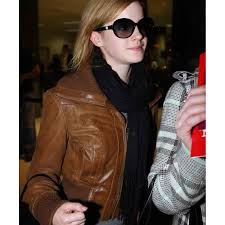 emma watson brown leather jacket women