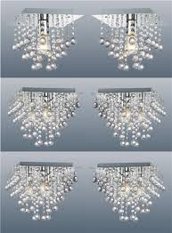 2 x square modern chrome ceiling lights flush