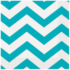 Light Blue Chevron Paper Napkins Teal Chevron Luncheon Napkins 16ct