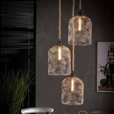 Industriële Lampde Stoere Hanglamp Manhattan Met Touw 3lichts Getrapt
