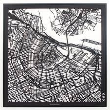 Houten Stadskaart Amsterdam Van Hout 3 Mm Dik Detail