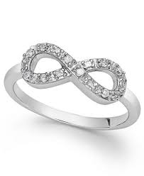 infinity ring. diamond infinity ring in sterling silver (1/10 ct. t.w.)