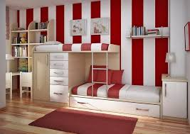 intriguing teenage room decor inspiration with red area rug also red and white striped wall