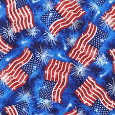 Blue American Flags And Fireworks Cotton Fabric Fat Quarter