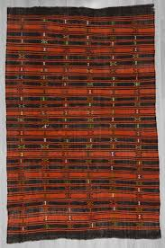 1218 handwoven vintage black and orange striped embroidered