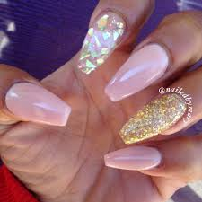 Nude gold flakes glitter cute simple coffin style nails | Nailed ...