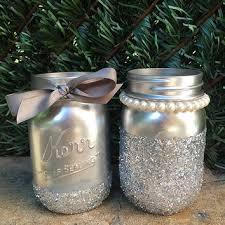 glitter mason jars silver mason jars painted mason jars weddi