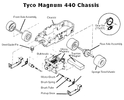 ho slot car racing tyco mattel chassis parts diagrams 440 tyco magnum 440 chassis diagram