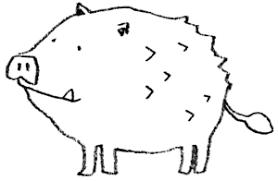 ほのぼのとしたイノシシ亥のイラスト えんぴつと画用紙
