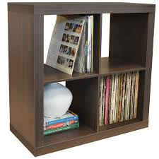 vinyl record storage furniture. CUBE - 4 Cubby Square Display Shelves / Vinyl LP Record Storage Walnut Furniture L