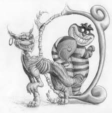 looking in mirror different reflection drawing. through the looking glass/cheshire cat in mirror different reflection drawing s