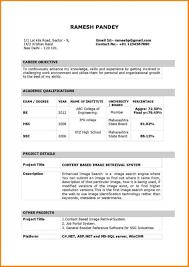 Biodata For Job Application Template It Resume Format Pdf Resume Formet For Fresher