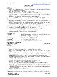 Sas Developer Sample Resume Cv Sas Software Clinical Trial
