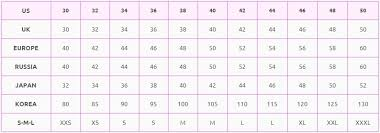 Size Comparison Chart Clothing Clothing Size Conversion Chart Online Conversions