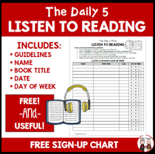 Daily 5 Listen To Reading Sign Up Chart For Students