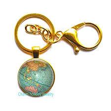Planet Gold Size Chart Amazon Com Beautiful Globe Keychain Planet Earth World Map