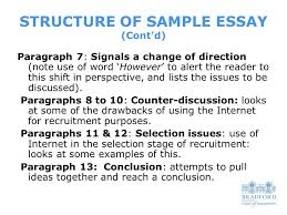 essay writing structure what do tutors look for in assignments structure of sample essay cont d paragraph 7 signals a change of
