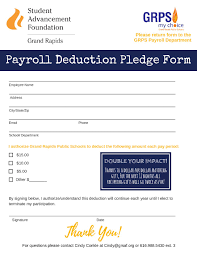 Grps Payroll Pledge Form | Grand Rapids Student Advancement Foundation