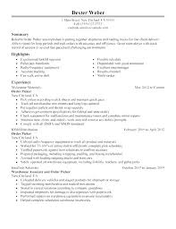Example Of Resume For A Job Interesting Resume Warehouse Manager Job Description Templates For Worker