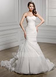 trumpet mermaid sweetheart chapel train organza wedding dress with