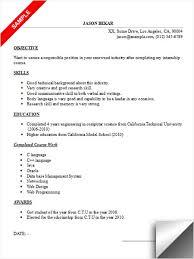 Gallery Of Internship Resume Sample Internship Resume Example