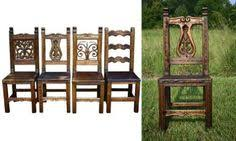 reclaimed colombian hardwood dining chair with carved vines