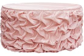 21ft gathered lamour satin table skirt blush rose gold