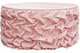 14ft gathered lamour satin table skirt blush rose gold