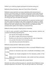 self reflection essay sample reflective samples of essays free reflective essay examples
