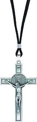 Intercession <b>St Benedict</b> Crucifix on Cord Necklace (<b>Antique Silver</b> ...