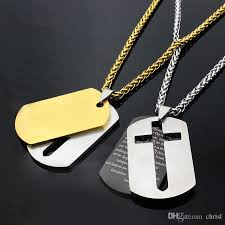 whole cross necklaces pendants jewelry lords prayer dog tags gold color stainless steel gift for men costume jewellery jewelry