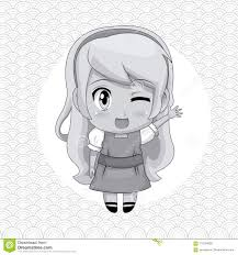 Monochrome Abstract Background With Circular Frame And Cute Anime