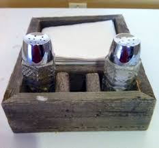 custom made reclaimed barn wood napkin and salt and pepper holder