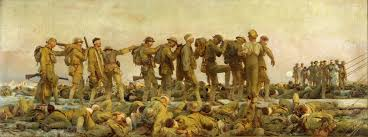 painting of a line of solrs walking appaly blind artist john singer sargent