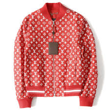 supreme シュプリーム 17a w x louis vuitton monogram leatherette jacket leather baseball jacket red 44
