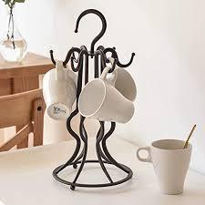 7u mug tree holder organizer creative rustic metal wire coffee mug display rack with 6 hooks for large mugs and small tea cups stand on kitchen countertop