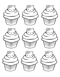 Small Picture cupcakes hello kitty simple Cup Cakes Coloring pages for