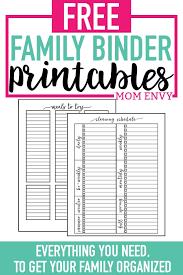 Free Printable Binder Templates Home Organization Printables Free Printable Home
