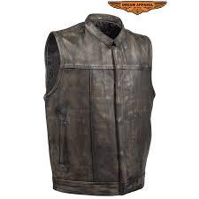 mens distressed brown leather motorcycle club vest zoom