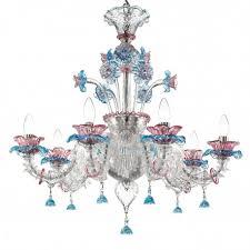 nada murano glass chandelier 6 lights transpa pink and light blue
