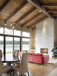 view in gallery contemporary living room with a pitched wooden ceiling