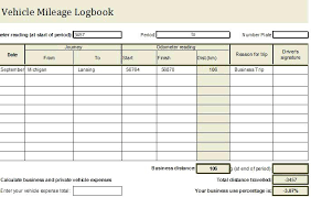 Mileage Book Travel Log Book Free Download Vehicle Mileage Template