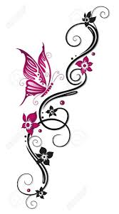 Floral Tribal Tattoo In Black And Pink Royalty Free Cliparts