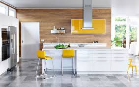 ikea modern kitchen. A Large Modern Kitchen With White High-gloss Drawers And Yellow Doors Ikea E