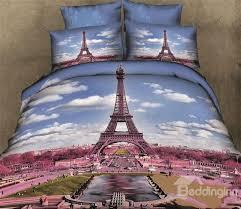 100 cotton skin care eiffel tower 3d print 4 piece bedding sets